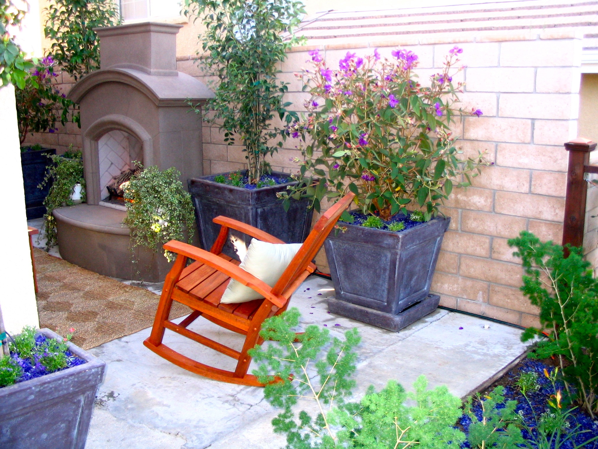 rocking chair and outdoor fireplace eden makers blog by shirley