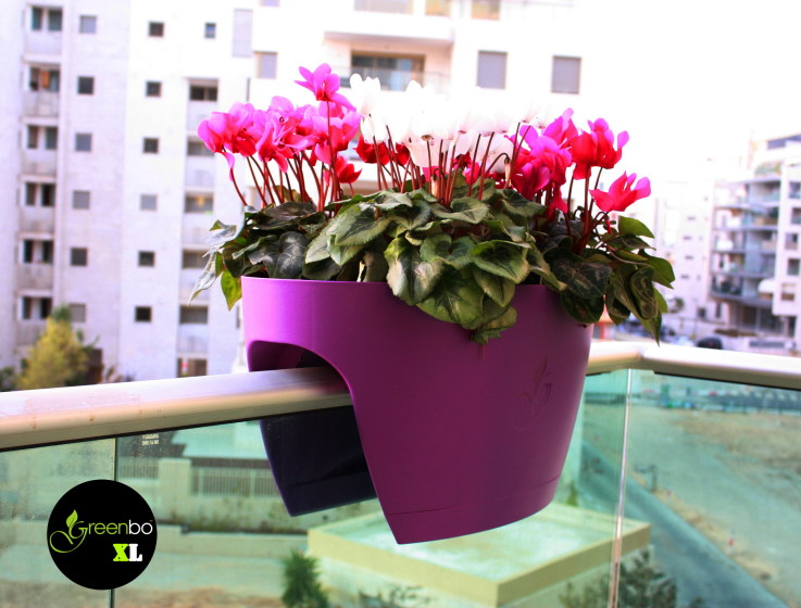 purple greenbo balcony planter hanging on railing