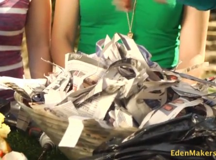 Add Shredded newspaper to worm composting bin