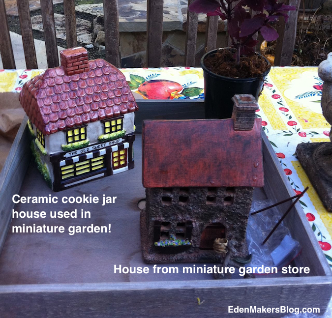 Edible Landscaping And Fairy Gardens: Ceramic-cookie-jar-house-for-miniature-landscape By