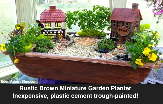 Miniature garden planter was a plastic cement mixing trough that was painted and converted into a planter for a miniature english village garden by Shirley Bovshow www.edenmakersblog.com