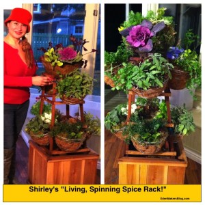 """Shirley Bovshow's """"Living Spice Rack"""" that spins and is portable."""