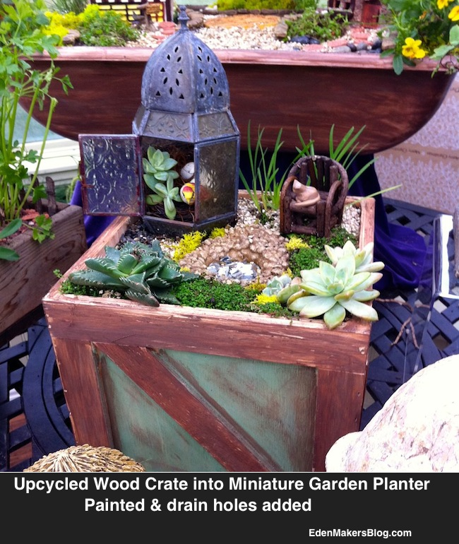 Edible Landscaping And Fairy Gardens: Beach-themed-miniature-garden-with-upcycled-wood-planter