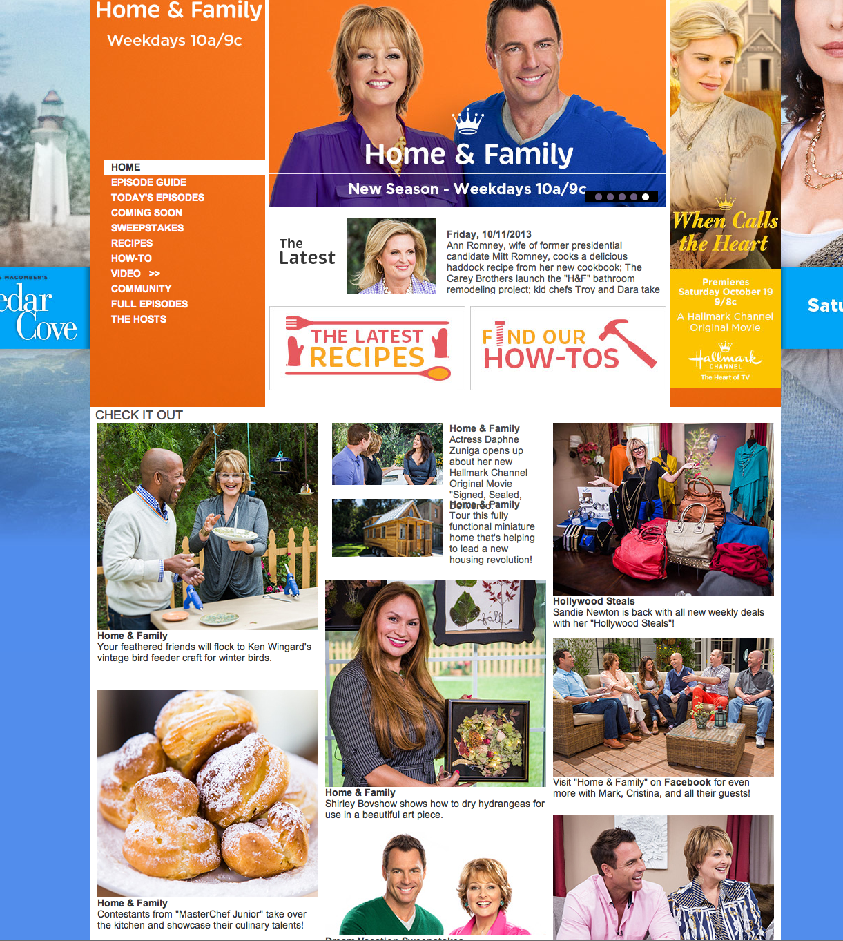 Home and Family Show website on the Hallmark Channel