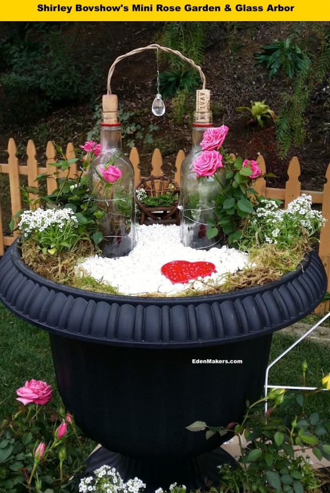 miniature rose garden with repurposed glass bottle arbor eden makers