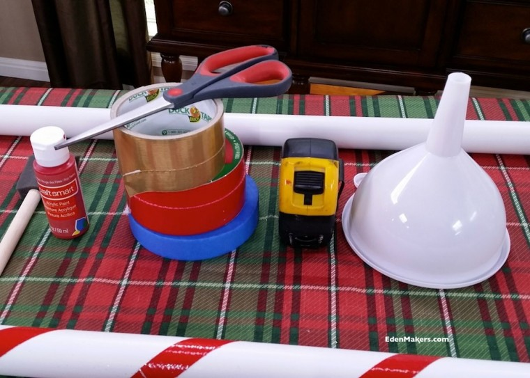 duct-tape-red-paint-funnel-pvc-pipe-measure-tape-shirleys-christmas-tree-watering-stick-materials-edenmakers