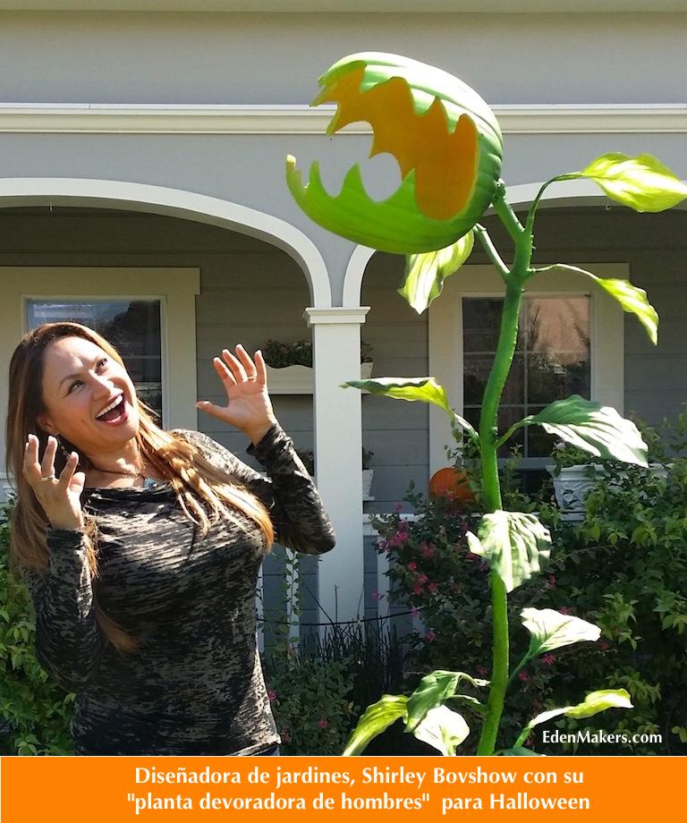 planta-devoradora-de-hombres-para-halloween-con-shirley-bovshow-diseñadora-de-jardines-edenmakers.com
