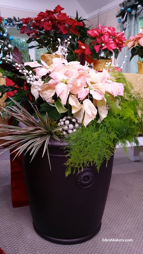 Garden-stone-bronze-planter-with-holiday-house-plants-edenmakers-blog