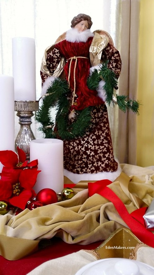 Old-fashioned-angel-christmas-statue-gold-tablecloth-edenmakers-blog