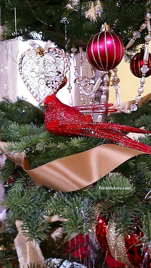 Red-glitter-bird-christmas-ornament-gold-ribbon-glass-heart-edenmakers