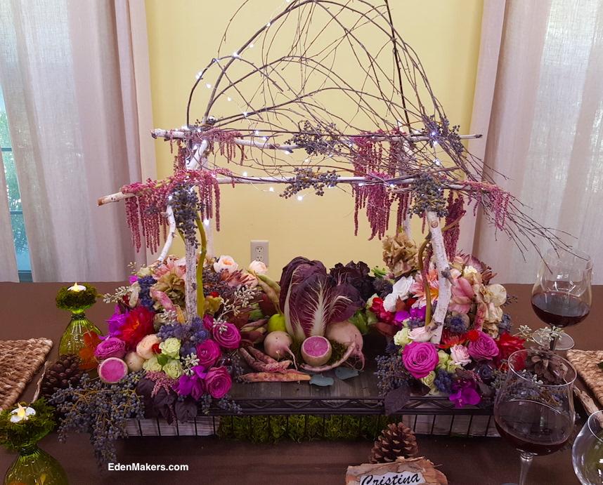 miniature-birch-tree-arbor-gazebo-thanksgiving-centerpiece-led-lighs-flowers-vegetables-fruit-edenmakers-blog