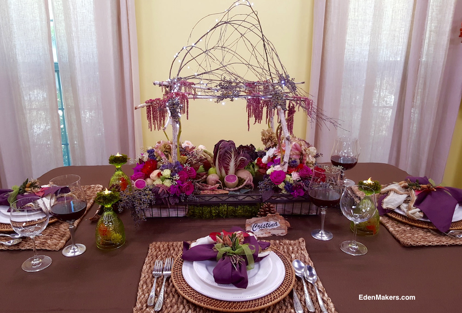thanksgiving-tablescape-miniature-birch-tree-arbor-with-jewel-tone-flowers-vegetables-fruit-designer-shirley-bovshow-edenmakers-blog