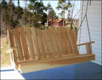 pine swing bench
