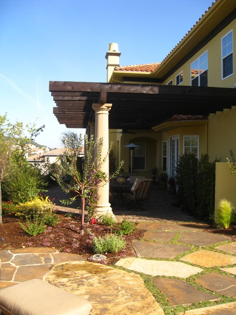 Stone column patio