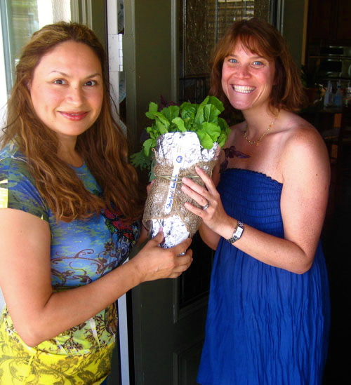 Mixed lettuce bouquet makes a great hostess gift!