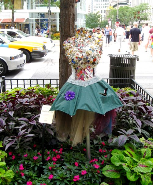 Umbrella Dress in chicago street side garden